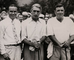 Tommy with Billy Burke and Babe Ruth, 1935