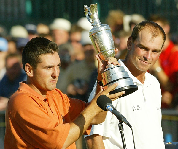Agony and Ectasy: Thomas Bjorn gives a wry smile after seeing his Open Championship hopes dashed by a poor back-nine in the final round in 2003, which would gift the unknown Ben Curtis golf's biggest prize