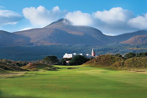 The Mourne Mountains provide a wonderful background at Royal County Down