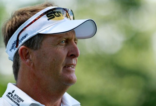 Fred Funk looks on during a practice round prior to the start of the 111th US Open
