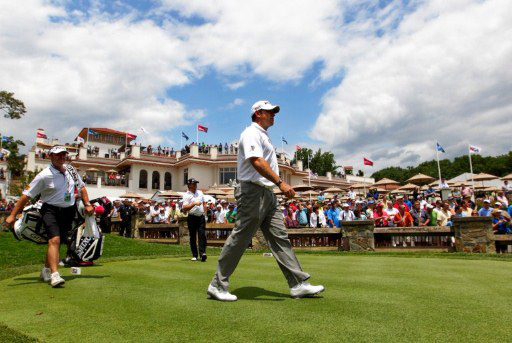 Lee Westwood of England walks off a tee box during a practice round prior to the start of the 111th U.S. Open at Congressional Country Club