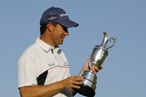 Padraig Harrington holds the Open Championship trophy