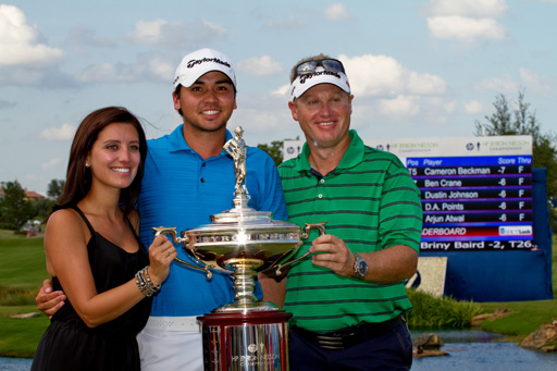 Jason Day poses after claiming the title at the HP Championship