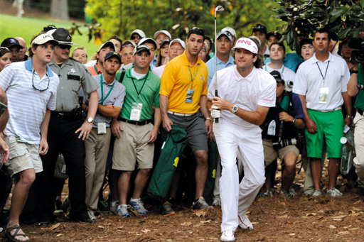 Bubba Watson won in style, hitting an incredible escape shot from the trees onto the green
