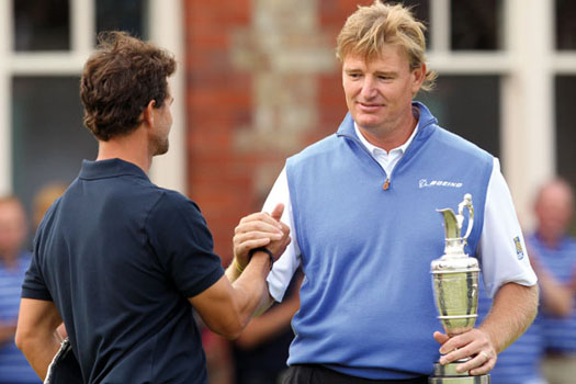 Ernie Els consoles close friend Adam Scott