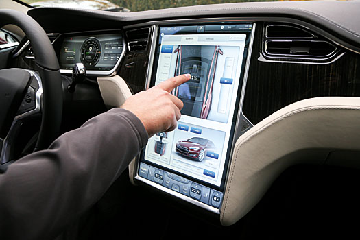 A 17-inch touchscreen that controls all the car's functions with a swipe