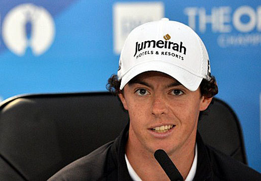 Rory McIlroy speaks at a press conference at The Open