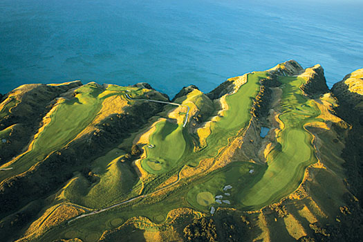 An aerial shot of the stupendous back nine at Cape Kidnappers