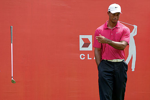 Tiger Woods shows his frustration during the final round of last year's CIMB Classic