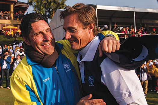 José María Olazábal congratulates Nicolas Colsaerts on the final day