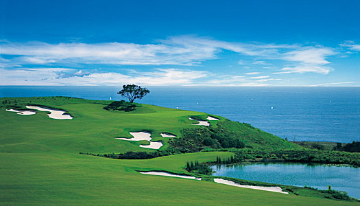 The scenic 17th hole on the Ocean North Course