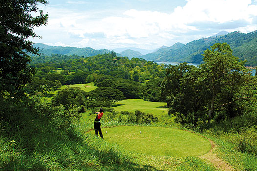The dramatic sixth hole at Victoria Golf and Country Resort near Kandy
