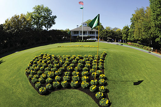 The lawn in front of Augusta's famous old colonial-style clubhouse