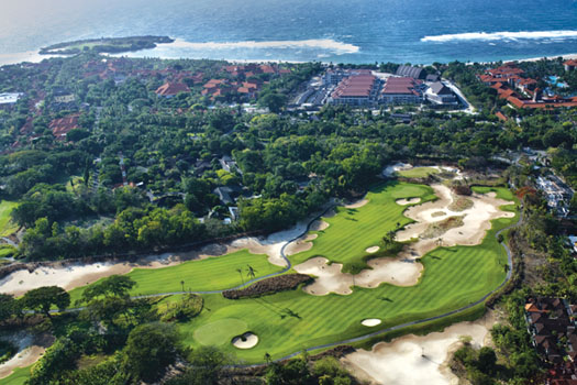 An aerial view of the 10th and 16th holes at the renovated Bali National Golf Club