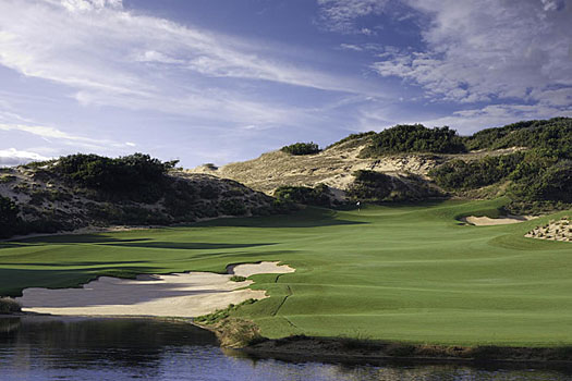 The stunning par-4 eighth presents a considerable challenge