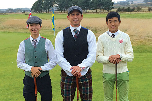 Loretto's Director of Golf Rick Valentine flanked by Yannick Artigolle and Lou Tan