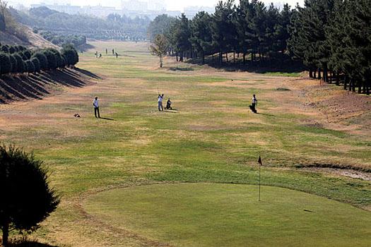 The patchy fairways at Engelhab Golf Club