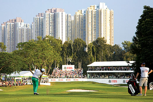 Matteo Manassero hits his second shot into the home green during the 2010 Hong Kong Open