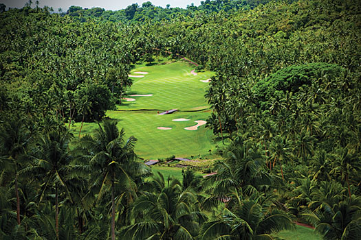 The spectacular third hole at Laucala Island