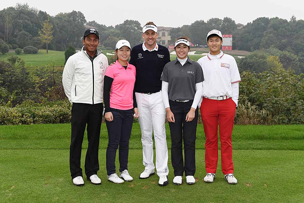 Leon D'Souza (far left) and Michelle Lee (second from right), seen here in the company of Ian Poulter, were two of four Hong Kong junior golfers to be invited to Shanghai