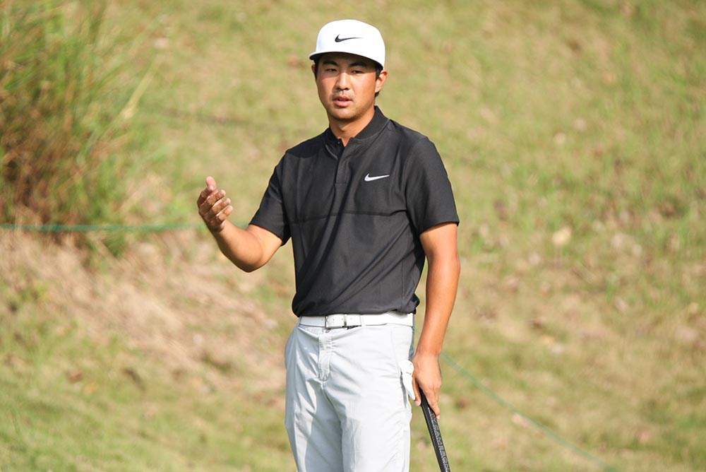 Runners-up Alex Kang's reaction after missed a 12-foot eagle putt for the win