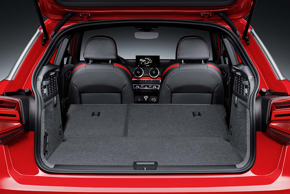 A power tailgate and a three-way split rear bench backrest with cargo through-loading
