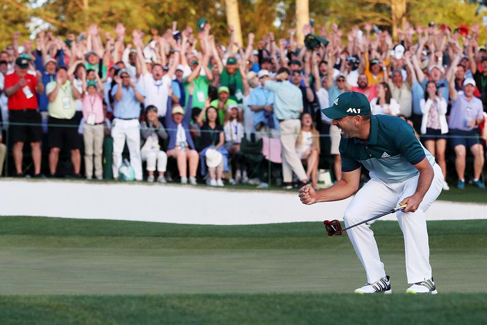 Sergio Garcia needed two putts for par to win on the first extra hole, instead made the birdie putt