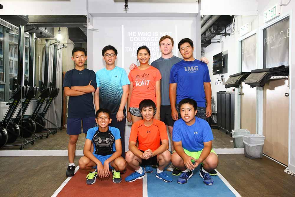 HKGA Junior team golfers (left to right): Back; Alex Zhuo, Maurice Leung, Andrea Au, James Honey (Lead S&C Coach), Zesen Hu; Front; Julius Yang, Ka Jun Yu, Lincoln Lau