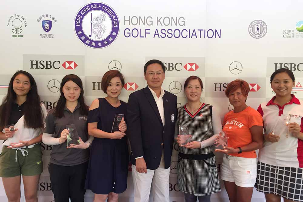 Winners of Ladies' Stableford: (Left to Right) Jasmine Kwan, Estee Leung, Rita Cha, Danny Lai, CEO of the HKGA, Law Fong Ying, Lun Hau Yee, Andrea Au