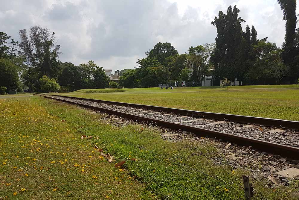 The railway line that divides many of the holes of Royal Colombo on the front nine