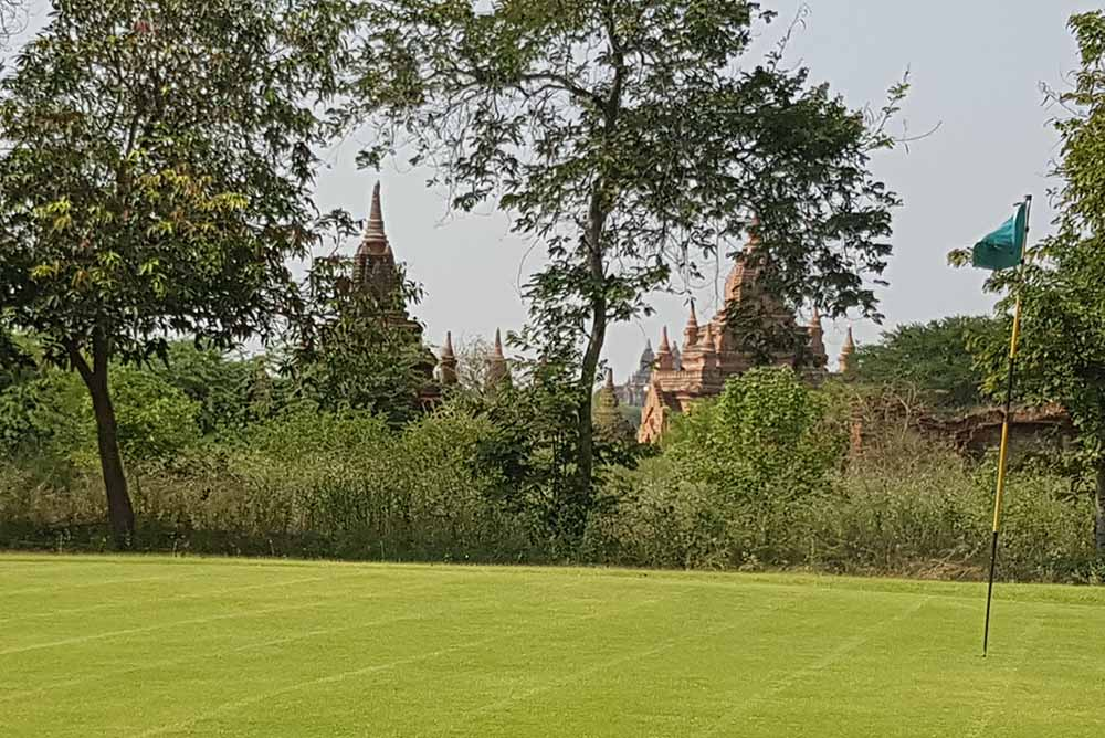 It's like playing golf back in ancient time at Bagan