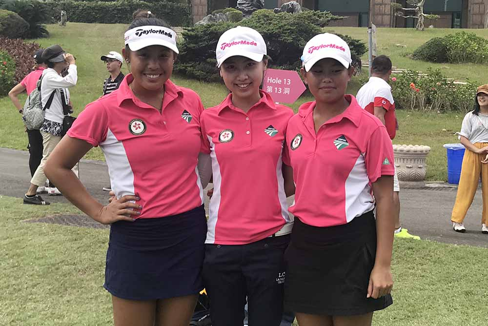 HK Ladies team at the Universiade - Michelle Cheung, Kitty Tam and Isabella Leung