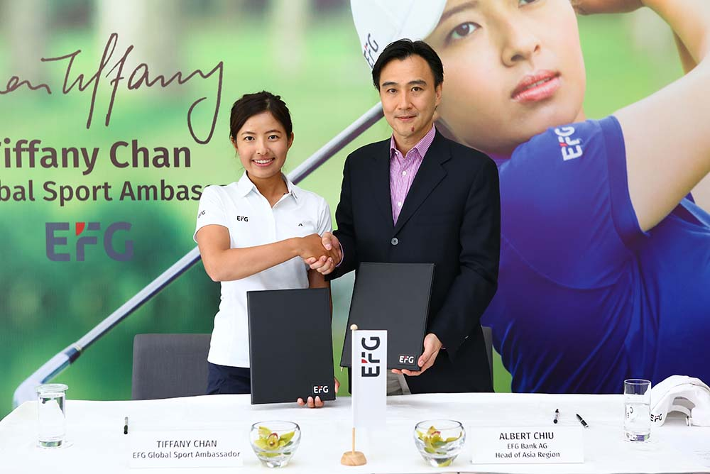 Tiffany Chan and Albert Chiu at the signing ceremony