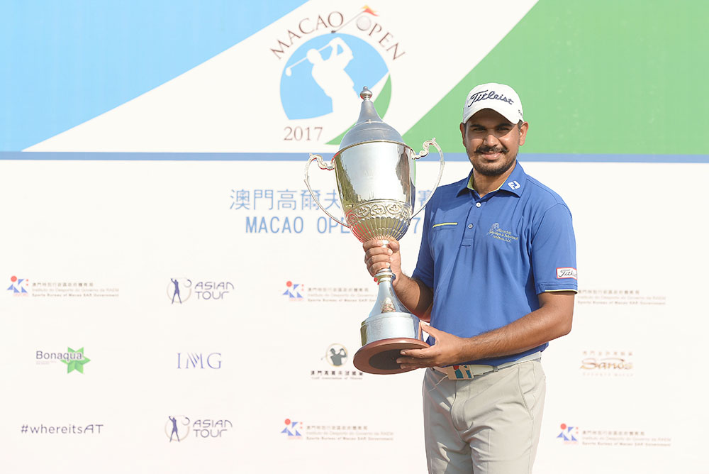 Gaganjeet Bhullar lifts the Macao Open trophy for the second time
