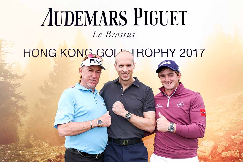 Miguel Ángel Jiménez, David von Gunten, CEO Greater China of Audemars Piguet and Paul Dunne