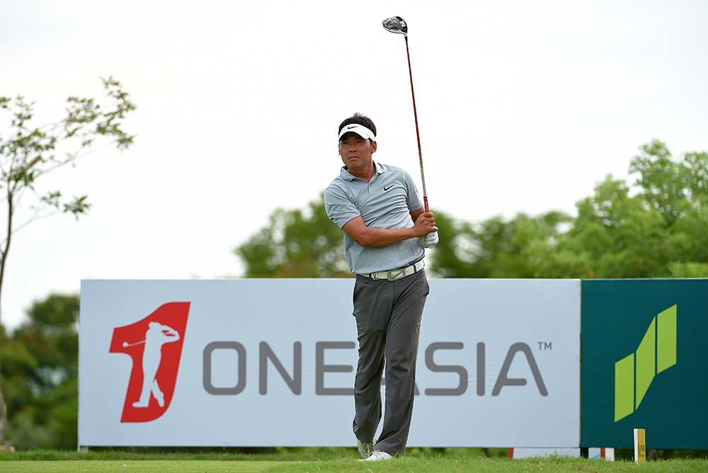 Zhang XinJun of China tees off during the second round of the 2015 Thailand Open golf championship