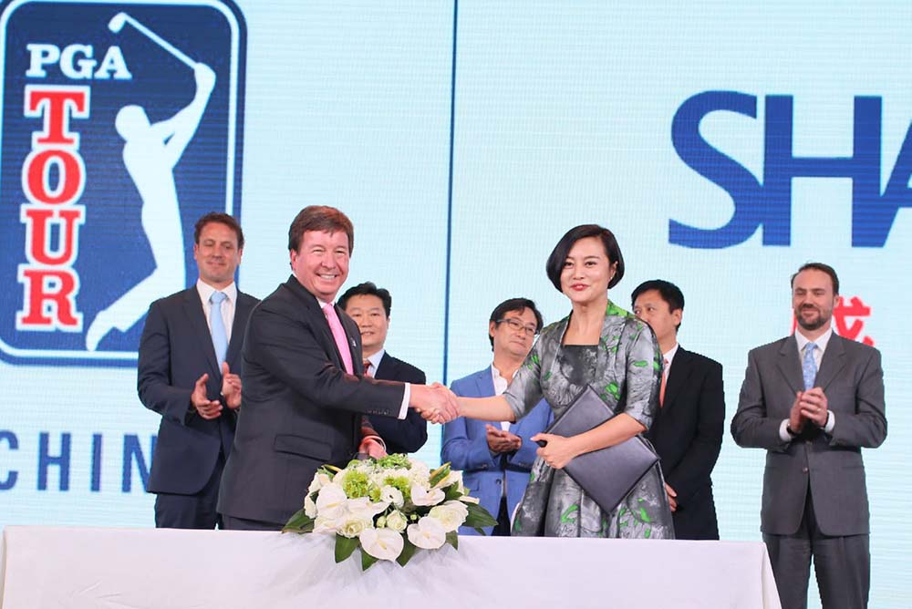 Foreground left to right: Greg Gilligan, Vice President and Greater China Managing Director, PGA TOUR; Hong Li, Co-founder and Chairwoman, Shankai Sports