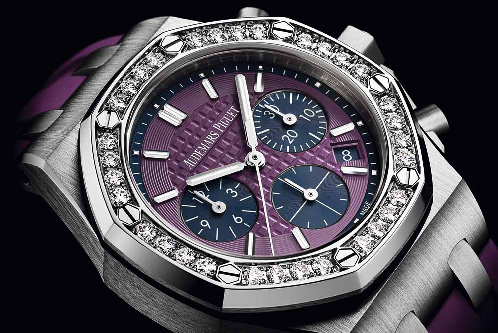 """Royal Oak Offshore 37mm stainless steel case with """"Lady Tapisserie"""" pattern purple dial and purple rubber strap"""