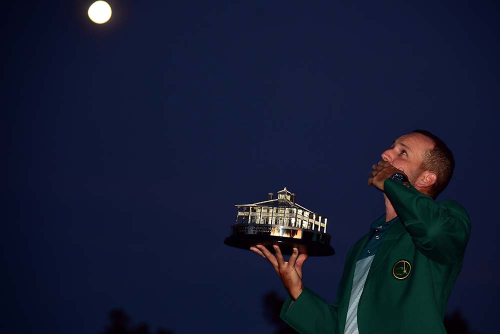 Sergio Garcia holds his 2017 Masters trophy