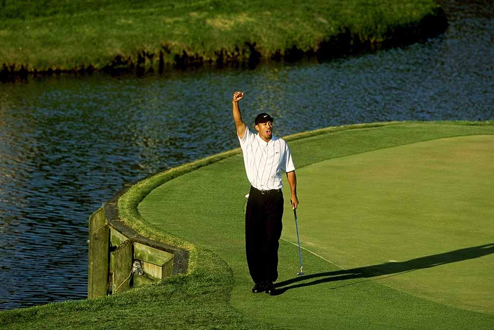 Tiger Woods was over the moon when claimed the first of his two PLAYERS Championship in 2001