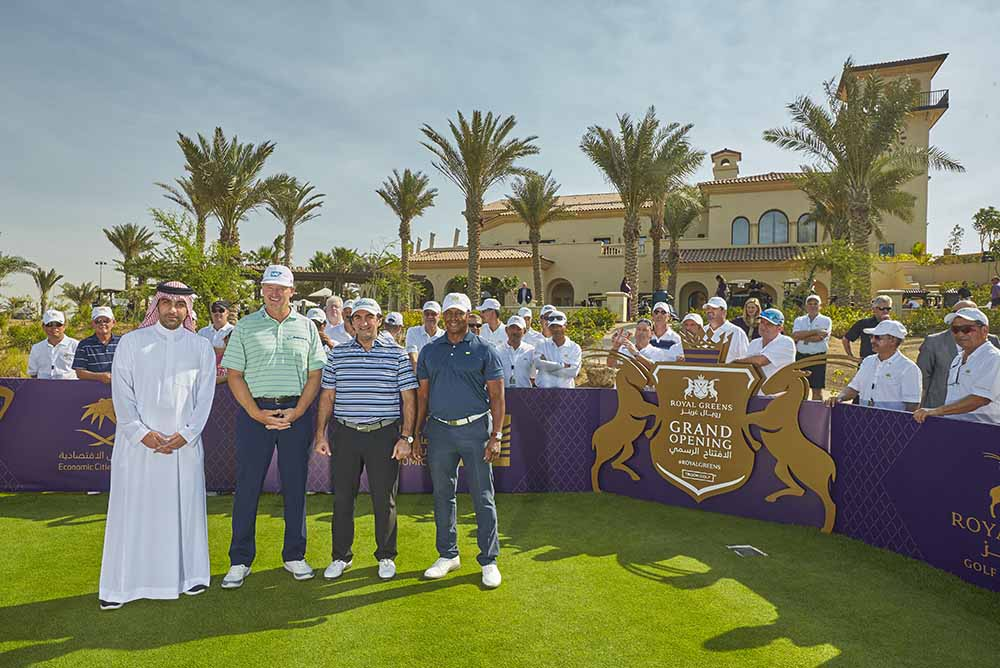 From left to right: Fahd Al-Rasheed, Group Chief Executive Officer and Managing Director of Emaar the Economic City (EEC), Ernie Els, His Excellency Yasir bin Othman Al-Rumayyan and Majed Sorour, CEO of Saudi Golf Federation