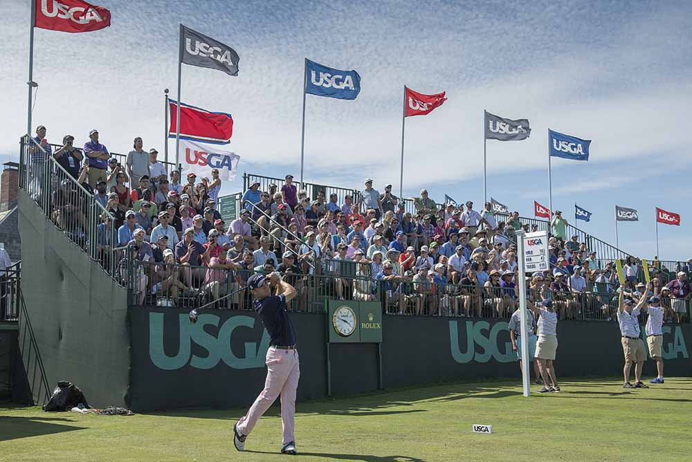 Justin Thomas on the 10th tee during the 2018 U.S. Open Championship