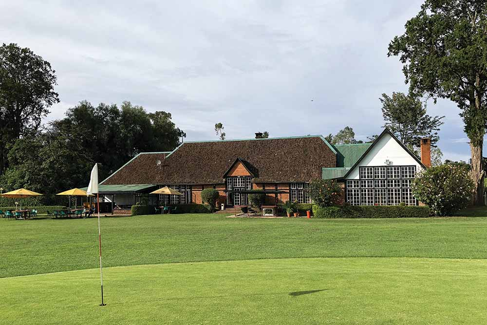 The 9th hole and clubhouse of Nanyuki Country Club