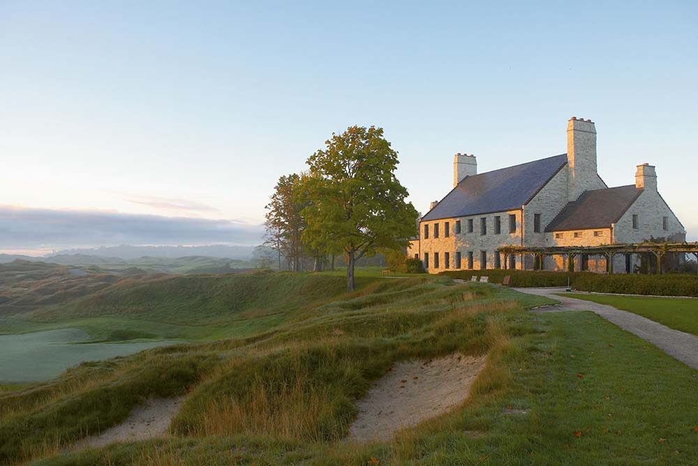"Whistling Straits - Clubhouse view from Straits Course, Hole 18 ""Dyeabolical"""