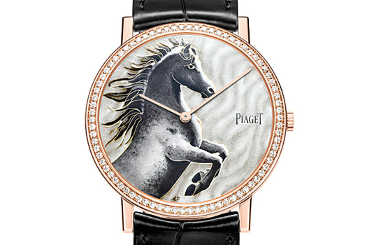 The Altiplano Chinese Zodiac Horse is available in white gold and pink gold